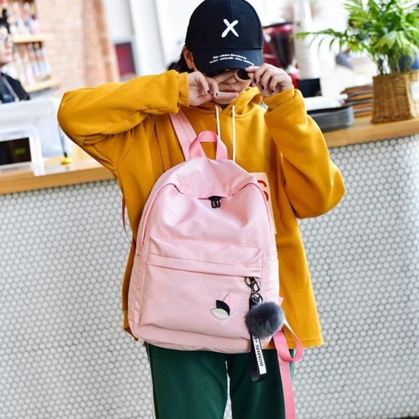 745 29cf113d69a9b975eaba84f69e9e522e 600x600 - Trendy Waterproof Women's Travel Backpack with Pompon
